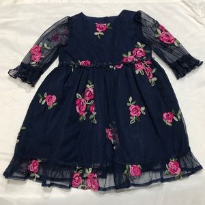 Laura Ashley Navy Embroidery Floral Dress Sz 18Mon